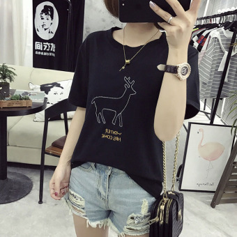 Women's Korean-style Embroidery Short Sleeve Short T-Shirt (Black)