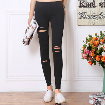 Women's Korean-style Fleece-lined Stretch High Waist Cropped Pants Color Varies (Black [three a hole] After 2 with pockets)