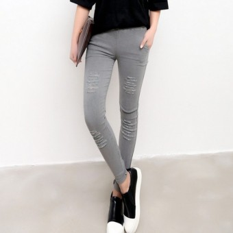 Women's Korean-style Fleece-lined Stretch High Waist Cropped Pants Color Varies (Gray [multi-A hole] After 2 with pockets)