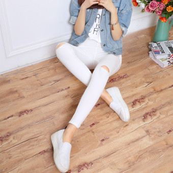 Women's Korean-style Fleece-lined Stretch High Waist Cropped Pants Color Varies (White [knee with holes] After 2 with pockets)
