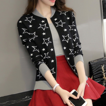 Women's Korean-style Knitted Long Sleeve Short Cardigan (Black)
