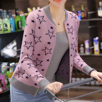Women's Korean-style Knitted Long Sleeve Short Cardigan (Pink)