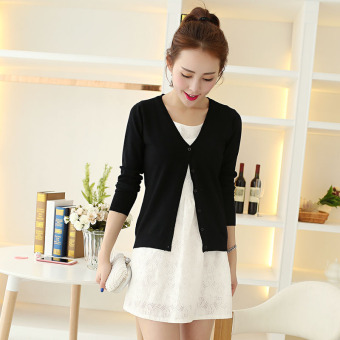 Women's Korean-style Knitted Short Cardigan (Black)