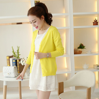 Women's Korean-style Knitted Short Cardigan (Lemon yellow)
