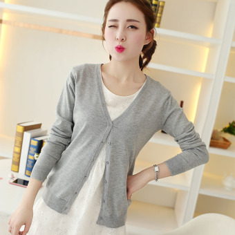 Women's Korean-style Knitted Short Cardigan (Light gray)