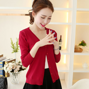 Women's Korean-style Knitted Short Cardigan (Red)