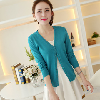 Women's Korean-style Knitted Short Cardigan (Sky Blue)