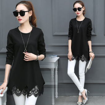 Women's Korean-style Lace Long Sleeve Mid Length T-Shirt (Black)