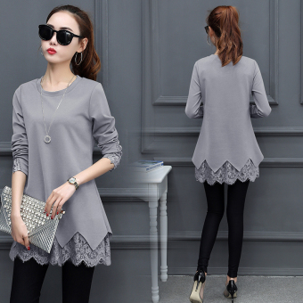Women's Korean-style Lace Long Sleeve Mid Length T-Shirt (Gray)