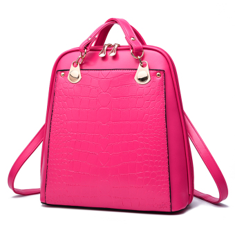 Women's Korean-style Leather Preppy Backpack (Rose color)