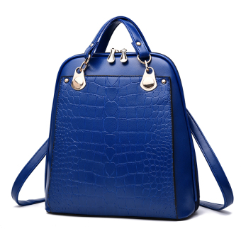 Women's Korean-style Leather Preppy Backpack (Sapphire blue color)