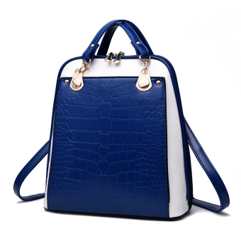 Women's Korean-style Leather Preppy Backpack (Sapphire blue color stitching)