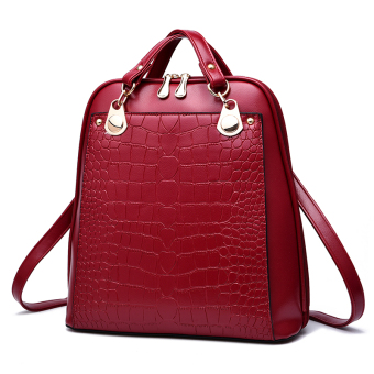 Women's Korean-style Leather Preppy Backpack (Wine red color)