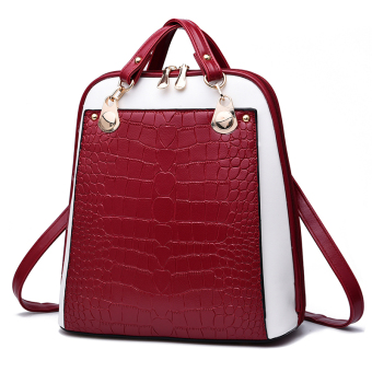 Women's Korean-style Leather Preppy Backpack (Wine red color stitching)