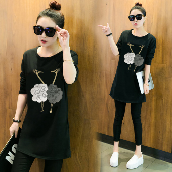 Women's Korean-style Long Sleeve Mid Length Loose T-Shirt (Black)