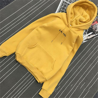 Women's Korean-style Loose Pullover Fleece-lined Hoodie (Yellow)