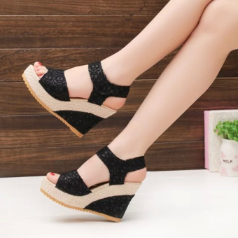 Women's Korean-style Non Slip Platform High Heel Sandal (Noble Black)