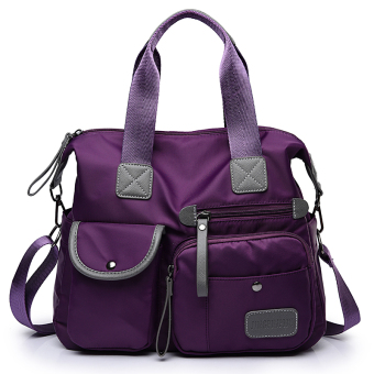 Women's Korean-style Nylon Cloth Hand Crossbody Bag (Purple)