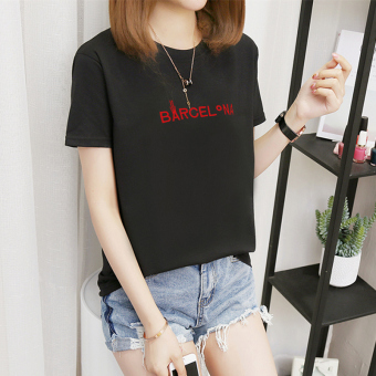 Women's Korean-style Plus Size Slimming Short Sleeve T-Shirt (378-BA embroidery-black)