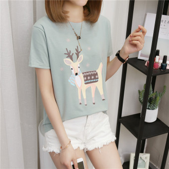 Women's Korean-style Plus Size Slimming Short Sleeve T-Shirt (386 Titoni deer-green)