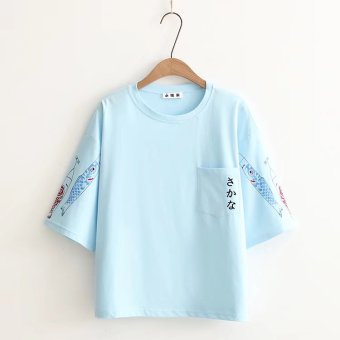 Women's Korean-style Print Round Neck Short Sleeve Loose T-Shirt (Light blue)