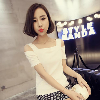 Women's Korean-style Revealing Sling Cut Off Shoulder Short Sleeve Solid Color T-Shirt (White)