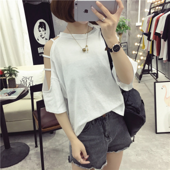 Women's Korean-style Revealing Strapless Short Sleeve T-Shirt (202 white)