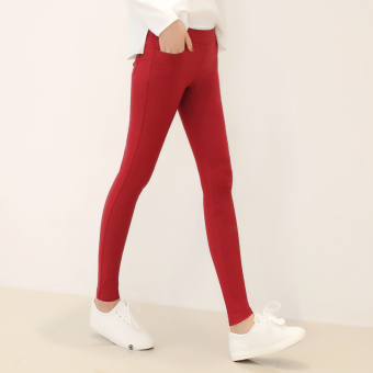 Women's Korean-style Ripped Skinny Pants Color Varies - Thick - Thin (Wine red color no with holes with pockets)