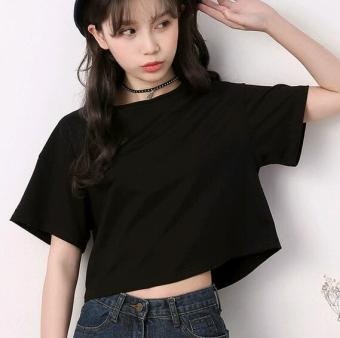 Women's Korean-style Round Neck Short Sleeve Cropped Loose T-Shirt (Black)