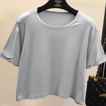 Women's Korean-style Round Neck Short Sleeve Cropped Loose T-Shirt - Candy Color (2 m gray)