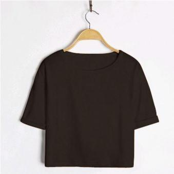 Women's Korean-style Round Neck Short Sleeve Cropped Loose T-Shirt - Candy Color (Black)