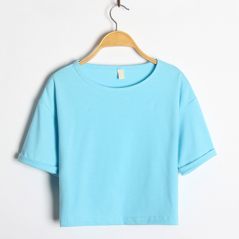 Women's Korean-style Round Neck Short Sleeve Cropped Loose T-Shirt (Light blue)