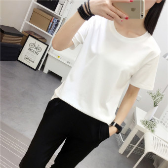 Women's Korean-style Round Neck Short Sleeve Solid Color T-Shirt