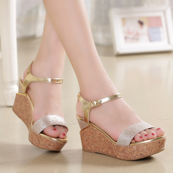 Women's Korean-style Shine Platform Sandal (Gold)