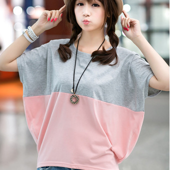 Women's Korean-style Short Sleeve Loose T-Shirt (849 Pink gray color)