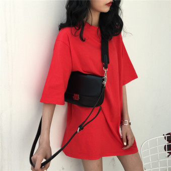Women's Korean-style Short Sleeve Mid Length Loose T-Shirt (Red)