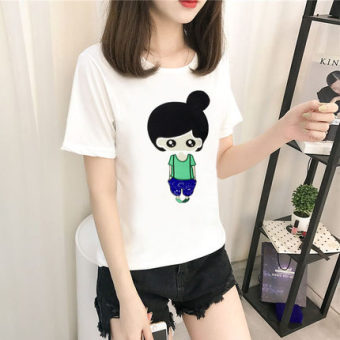 Women's Korean-style Short Sleeve T-Shirt (5076 white)