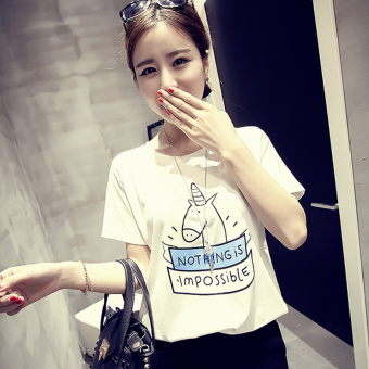Women's Korean-style Simple Short Sleeve T-Shirt (White [335 cows models])