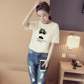 Women's Korean-style Simple Short Sleeve T-Shirt (White [860 tide Girl models])
