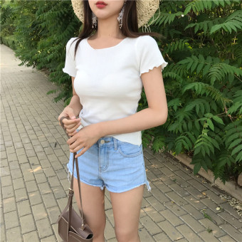Women's Korean-style Simple Slim Fit Agaric Lace Short Sleeve T-Shirt (White)