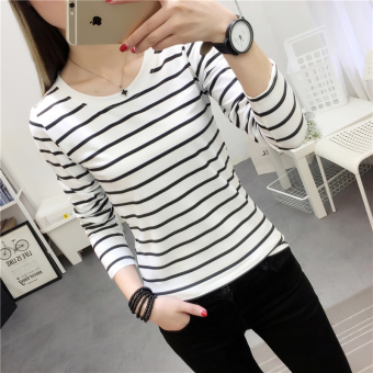 Women's Korean-style Slim Fit Letter Embroidered Round Neck Long Sleeve T-Shirt (925 * white)