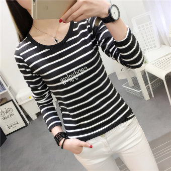 Women's Korean-style Slim Fit Letter Embroidered Round Neck Long Sleeve T-Shirt (926 * Black)