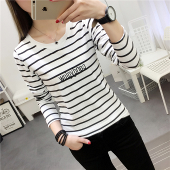 Women's Korean-style Slim Fit Letter Embroidered Round Neck Long Sleeve T-Shirt (926 * white)