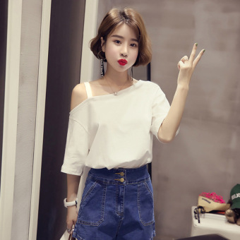Women's Korean-style Slim Fit Sling Cut Off Shoulder T-Shirt (White)