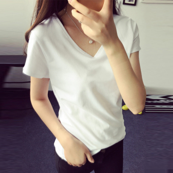 Women's Korean-style Slim Fit V-Neck Short Sleeve Solid Color T-Shirt (White)