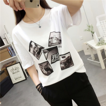 Women's Korean-style Slimming Letter Short Sleeve T-Shirt (8022 white)
