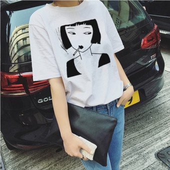 Women's Korean-style Slimming Letter Short Sleeve T-Shirt (8024 white girl's)