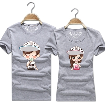Women's Korean-style Slimming Print Round Neck Short Sleeve Solid Color T-Shirt (Light gray color)