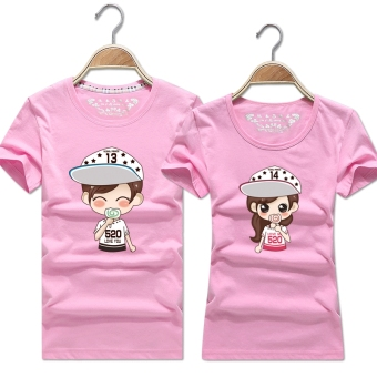 Women's Korean-style Slimming Print Round Neck Short Sleeve Solid Color T-Shirt (Pink color)