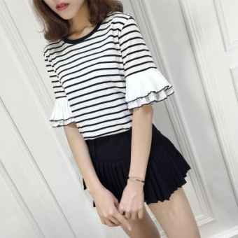 Women's Korean-style Slimming Striped Short Sleeve T-Shirt (White striped)